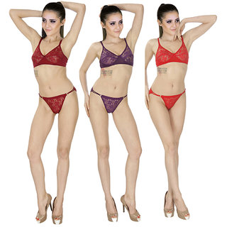 SK Dreams Multi Color Set of 3 Women's Bra  Panty Sets Combo