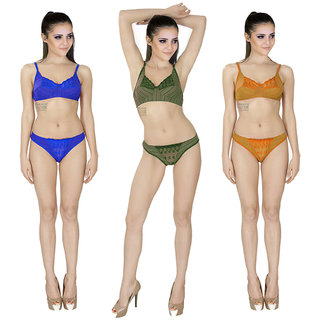 c693bb949ed37 Buy SK Dreams Multi Color Set of 3 Women s Bra Panty Sets Combo Online    ₹499 from ShopClues