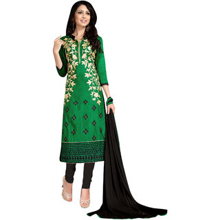 Trendz Apparels Green Glace Cotton Pakistani Suit Salwar Suit