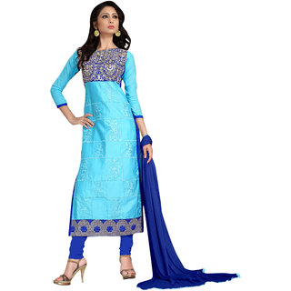 Trendz Apparels Light Blue Glace Cotton Pakistani Suit Salwar Suit