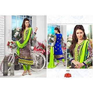 Trendz Apparels Grey 60 gm Georgette Straight Fit Salwar Suit