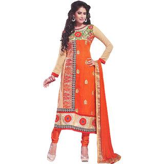 Trendz Apparels Orange 60 gm Georgette Straight Fit Salwar Suit