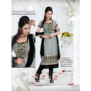 Trendz Apparels Gray 60 gm Georgette and Jacquard Straight Fit Salwar Suit