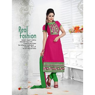 Trendz Apparels Pink 60 gm Georgette and Jacquard Straight Fit Salwar Suit