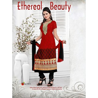 Trendz Apparels Red 60 gm Georgette and Jacquard Straight Fit Salwar Suit