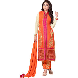 Trendz Apparels Orange 60 gm Georgette Straight Cut Salwar Suit