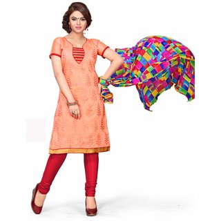 Trendz Apparels Orange Chanderi Cotton Silk Straight Fit Salwar Suit