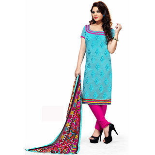 Trendz Apparels Turquoise Chanderi Cotton Silk Straight Fit Salwar Suit