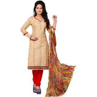 Trendz Apparels Beige Chanderi Cotton Silk Straight Fit Salwar Suit