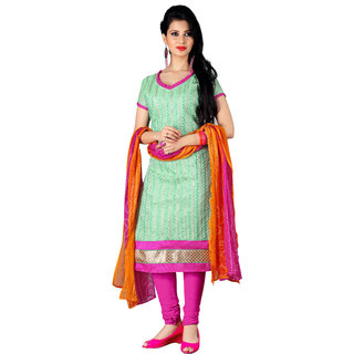 Trendz Apparels Turquoise Chanderi Cotton Silk Straight Fit Salwar Suit