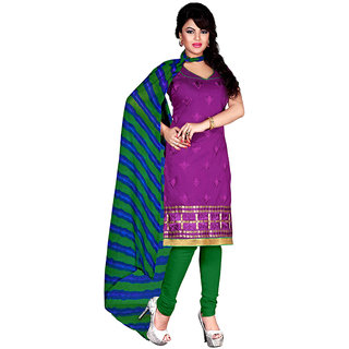 Trendz Apparels Purple Chanderi Cotton Silk Straight Fit Salwar Suit