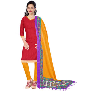 Trendz Apparels Red Cotton Jacquard Straight Fit Salwar Suit