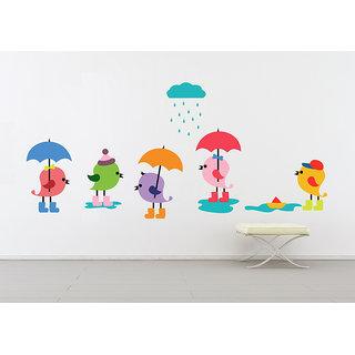 Creatick Studio Birds Group with umbrella Wall Sticker