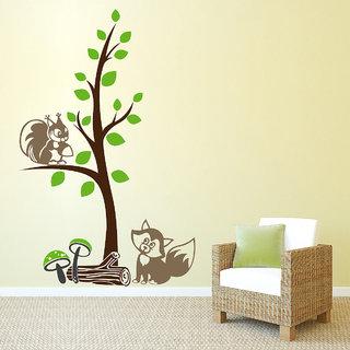 Creatick Studio Squerrels on Tree Wall Sticker