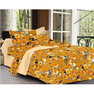 Minu cotton Double Bed Sheets With 2 Pillow Covers   -  Golden