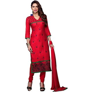 Trendz Apparels Red Glace Cotton Straight Fit Salwar Suit