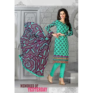 Trendz Apparels Turquoise 60 gm Georgette Straight Fit Salwar Suit