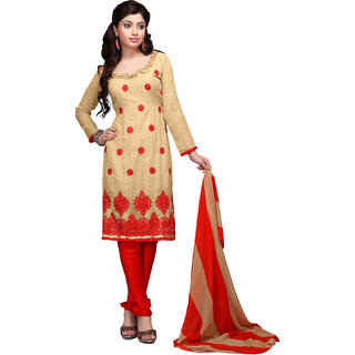 Trendz Apparels Red 60 gm Georgette Straight Fit Salwar Suit