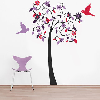Creatick Studio Purple Bird Tree Wall Sticker