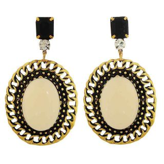 Maayra Trendy Off-White Black Indian Ethnic Partywear Drop Earrings