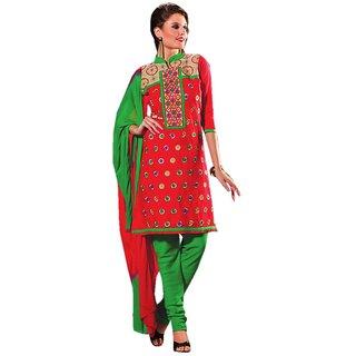 Trendz Apparels Red PC Cotton Straight Fit Salwar Suit
