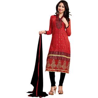Trendz Apparels Red 60 gm Georgette Straight Fit Salwar Suit