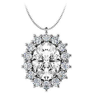 Oval Cz Halo Pendant In 925 Sterling Silver