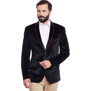 Canary London Black Suede Men's Casual Single Breasted Blazer