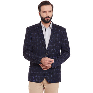 Canary London Navy Viscose Men's Casual Single Breasted Blazer