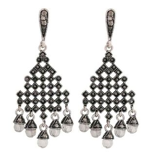 Maayra Posh Grey Stone Crystals Cocktail Party Drop Earrings