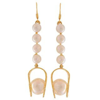 Maayra Classy White Gold Pearl Cocktail Party Drop Earrings