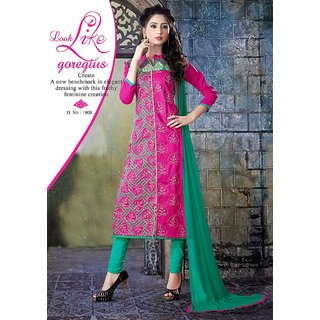 Trendz Apparels Pink Glace Cotton Straight Fit Salwar Suit
