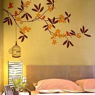 Creatick Studio Orange Flower Tree Wall Sticker