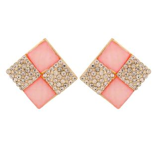 Maayra Amazing Pink White Stone Crystals Partywear Clip On Earrings