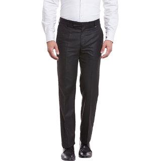 Canary London GraphiteBlack Viscose Men's Casual Flat front trousers