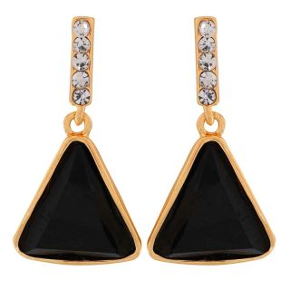 Maayra Graceful Black Stone Crystals Partywear Drop Earrings