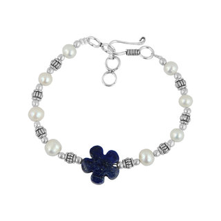 Pearlz Ocean White Fresh Water Pearl And Dyed Lapis Lazuli Bracelet For Girls