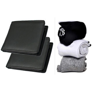 Pack of 2 Black Wallet And Pure Cotton Socks