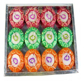 Saffron Craft Terracotta Pre filled wax Colored Diya set of 12
