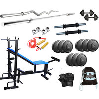 8 IN 1 GYM BENCH + 22 KG WEIGHT  + 5FT ROD + 3FT CURL ROD WITH ALL HOME GYM SET ACCESSORIES