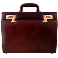 Zint Men Brown Hard Briefcase Pure Leather Attache Doctor Lawyer Bag Vintage Style