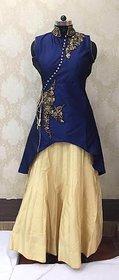 Fashion Women's Blue  Cream gown