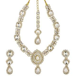 Kriaa Alloy White Ethnic Necklace Set -1105108