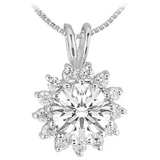 Rhodium Treated Sterling Silver Pendant With Cubic Zirconia