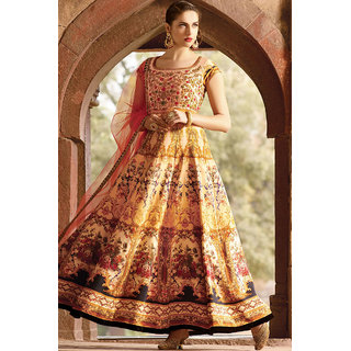 New Fashion Trend Yellow Color Digital printed gown
