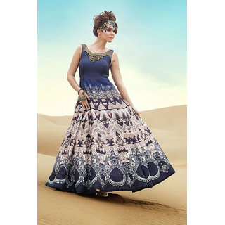 Regal Look Fancy Blue and White Color Digital printed gown