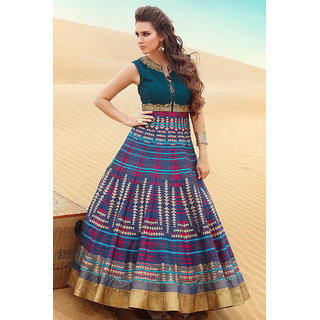 Get Online Latest Blue ColorDigital printed gown