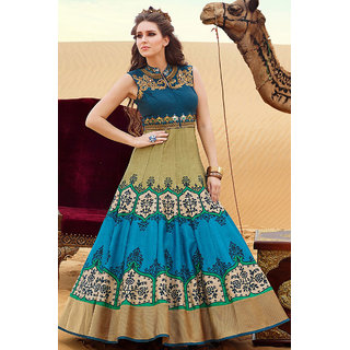Get Online Latest Blue and Cream Color Digital printed gown