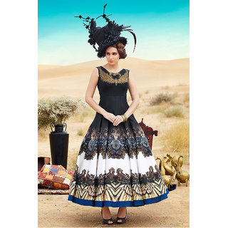 Regal Look Fancy Dark Blue color Digital printed gown