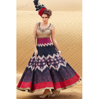 Get Online Latest Blue and red color Digital printed gown